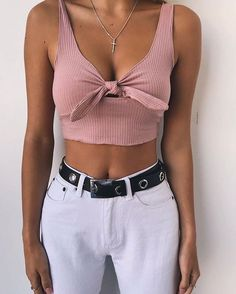 Bow-tie Solid Color Crop Top – Lupsona - All About Trendy Outfits, Summer Outfits, Fashion Outfits, Womens Fashion, Fashion Trends, Fashion Clothes, Fashion Inspiration, Ladies Fashion, Moda Outfits