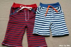 Tutorial: Little boy striped baggie shorts refashioned from a man's shirt | Sewing | CraftGossip.com