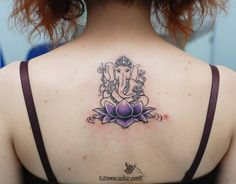 Purple Lotus Flower With Lord Ganesha Tattoo On Upperback : Lotus Tattoos Flower Tattoo Foot, Lotus Tattoo, Foot Tattoos, Tatoos, Tattoo Ink, Trendy Tattoos, Tattoos For Women, Tattoos For Guys, Wing Tattoos On Back