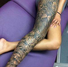 Full Leg Sleeve Tattoo For Girls - Best Thigh Tattoos For Women: Cute Leg Tattoos on Upper, Side, and Back Thigh - Pretty Cool Female Thigh Tattoo Designs and Ideas Full Leg Tattoos, Leg Tattoos Women, Love Tattoos, Sexy Tattoos, Beautiful Tattoos, Body Art Tattoos, Thigh Tattoos, Tattoo Art, Incredible Tattoos