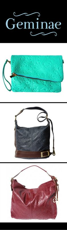 New leather bags at geminae.co. Loving the clutch...  bags and purses designer