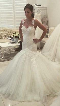 Mermaid Wedding Dress With Sheer Back on Luulla