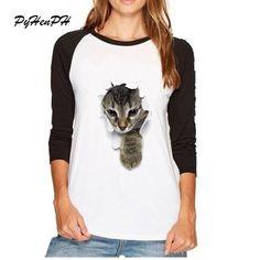 45855ba531 2017 Full Sleeve Women T Shirt Cute Cat Print Round Neck 3D T-shirt Tops  Female Autumn Casual Woman Girl Clothing Plus Size