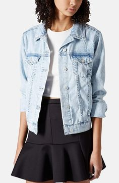 Topshop Moto Denim Jacket available at #Nordstrom