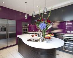 Access luxury kitchen design photo gallery from top interior designers. From custom made, modern and traditional find it all here - FREE! Purple Kitchen Designs, Purple Kitchen Decor, Kitchen Decorations, Kitchen Cabinet Colors, Kitchen Colors, Kitchen Ideas, Kitchen Cabinets, Nice Kitchen, Stylish Kitchen