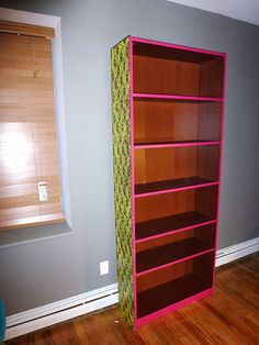 Neon Lace Bookshelf... I would do different colors, but LOVE the idea!
