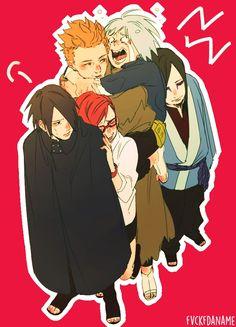 Orochimaru, Karin, Juugo, Suigetsu, Sasuke and Orochimaru Source : http://www.zerochan.net/1976683