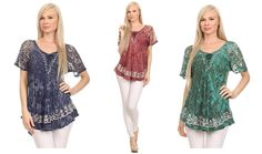 This blouse is traditionally handmade and hand dyed to create a unique dye color and pattern for each individual blouse. This blouse style has unique embroidery details, loosely draped cap sleeves, a frontal tie closure, and embroidered neck and sleeve hems. The sleeves are made of a lightweight and sheer cotton. #womens  #tops #ladies #apparel #blouses #fall #clothing #shirt #fashion #dress #women #plussizes #online #apparal #onlineshopping #fashionable