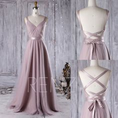 2016 Thistle Bridesmaid Dress, A Line Wedding Dress, Mesh Draped Prom Dress, Backless Evening Gown, Long Formal Dress Floor Length (JS081)