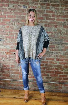 Another beautiful market buy picked exclusively for our customers!  We love this sweater and believe you will too!  Its a poncho style but has full sleeves.  Fi