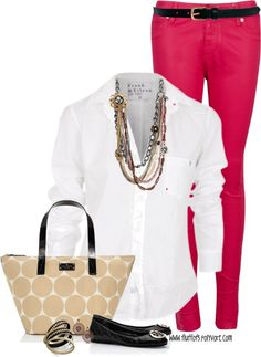 White button down, bright skinnies! Easy and so many options! Just switch up your skinnies and add some heels for the office!
