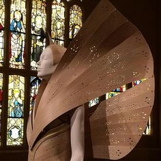 This is my kind angel: hand crafted punched plywood. McQueens angel explores the tension between man and the machine @alexandermcqueen @metmuseum #heavenlybodies #design #fashion #nyc #byzantine #industrial #craft