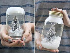 Eine DIY Idee für Schbneekugel-Glas mit Deckel verweden-Mini-Tanne und Kunstschnee
