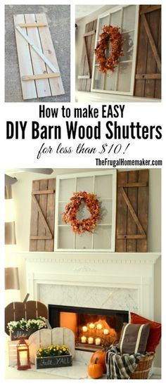 Rustic Fall Mantel Decorated with DIY Wood Pumpkins and DIY Barn Wood Shutters. Diy Simple, Easy Diy, Diy Wood Projects, Home Projects, Shutter Projects, Rustic Decor, Farmhouse Decor, Farmhouse Style, Rustic Style