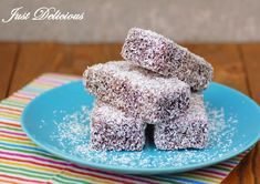CHOCOLATE LAMINGTONS - We've been asked to make these so many times that we felt like we couldn't ignore it anymore. A square of delicious vanilla sponge dipped in a rich chocolate icing and then coated in desiccated coconut. Fun Baking Recipes, Baking Tins, Tart Recipes, Dessert Recipes, Lamingtons Recipe, Czech Desserts, Coconut Icing, Chocolate Icing, Coconut Chocolate