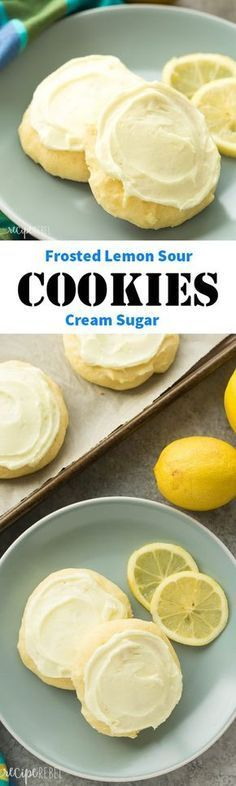 Frosted Lemon Sour Cream Sugar Cookies, Perfect for Easter or Christmas #cookies #ChristmasCookies #desserts #christmasdesserts