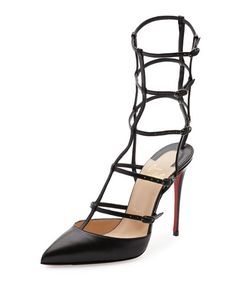CHRISTIAN LOUBOUTIN KADREYANA CAGED 100MM RED SOLE PUMP, BLACK. #christianlouboutin #shoes #pumps