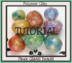 Tutorial How to Create Polymer Clay Faux Glass Beads PDF Lesson.they look like lamp work glass beads Polymer Clay Canes, Polymer Clay Projects, Polymer Clay Creations, Polymer Clay Beads, Clay Crafts, Lampwork Beads, Ceramic Beads, Clay Tutorials, Beading Tutorials