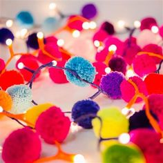 Rainbow Pom Pom Fairy Lights , 240cm Long