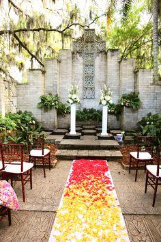 Outside Chapel at  Maitland Arts Center, Florida  Whimsical Bohemian Wedding Maitland Arts Center, FL Photographer:  Heather Rice Photography