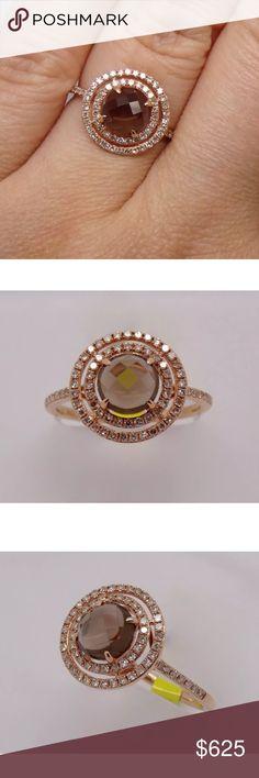 *LAST DAY* 1.70 carat 14k rose gold diamond ring 1.70 carat 14k rose gold diamond&smoky topaz ring! 0.40 carat diamond 1.30 carat smoky topaz Jewelry Rings