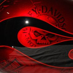 Vivid red with black, and skulls! Just my colors. I need this tank! Motorcycle Tank, Motorcycle Design, Motorcycle Style, Bicycle Design, Custom Motorcycle Paint Jobs, Custom Paint Jobs, Harley Davison, Custom Harleys, Custom Motorcycles