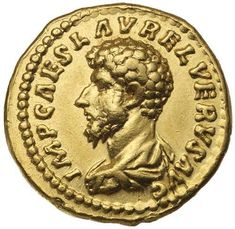 Roman Gold Coins / LUCIUS VERUS, (A.D. 161-169), gold aureus... Realisation Price $9,000.00 AUD... Click VISIT to see 10,000+ Gold Coins at MAD On Collections. Please feel free to pin or share this coin. #GoldCoins