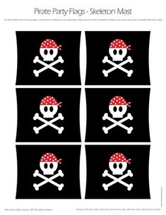 Pirate Party Flags - Skull and Cross Bones Mast-Style Flags - DIY Printable Parties - for sale, $3.50 at Scubbly