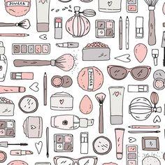 Makeup Vectores en stock y Arte vectorial Kawaii Drawings, Doodle Drawings, Makeup Illustration, Japanese Illustration, Makeup Business Cards, Doodle Background, Doodles, Bullet Journal Art, Doodle Coloring