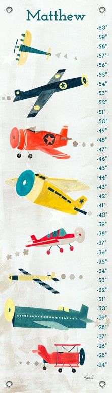 Airplanes soar on this canvas growth chart and he'll delight in seeing which plane he measures up to now. Irene Chan's pick of colors will work into countless design schemes and her vintage style has abundant charm. Available from Oopsy Daisy, Fine Art for Kids.
