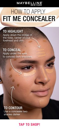 Want to learn how and where to apply concealer? Use this guide when applying Maybelline's Fit Me Concealer to highlight, conceal and contour! Tap to find your shade using our virtual try-on tool. #concealerhack #concealertips #naturalmakeup