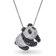 Bling Jewelry Petite Panda Pendant ($70) ❤ liked on Polyvore featuring jewelry, pendants, necklaces, black, necklaces pendants, clear jewelry, clear pendant, charm pendant, black pendant and clear pendant necklace