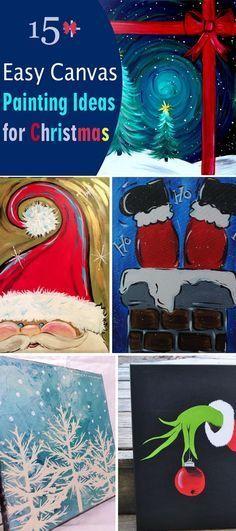 Christmas DIY: 15 Easy Canvas Pain 15 Easy Canvas Painting Ideas for Christmas #christmasdiy #christmas #diy