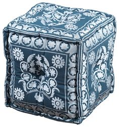 Square Embroidered Pouf, Blue - contemporary - Floor Pillows And Poufs - Artemano