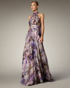 @Gael Tabet I feel like you would like this Halter-Neck Printed Gown by Badgley Mischka at Neiman Marcus.