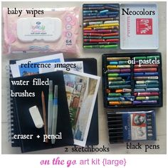 on the go art kit | this would be great for traveling or even documenting shorter day trips to museums or nature hikes