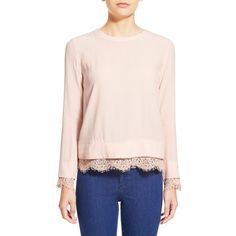 WayfLace Trim Envelope Back Blouse ($58) ❤ liked on Polyvore featuring tops, blouses, blush, lace trim blouse, long sleeve chiffon blouse, pink chiffon blouse, long sleeve surplice top and chiffon blouse