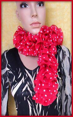 Echarpe froufrou rouge pois blanc : Echarpe, foulard, cravate par orkan28
