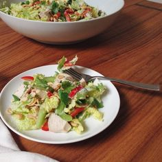 COLD, CRUNCHY CHICKEN SALAD WITH CREAMY TAHINI & GINGER VINAIGRETTE | LaurenAriza.com | Recipe • Schmecipe