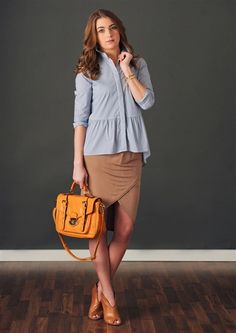 Wrapped Pencil Skirt and Pinstripe Peplum Buttondown | shopgracieb.com