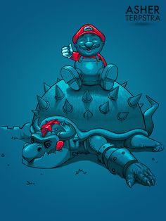Mario beat Bowser