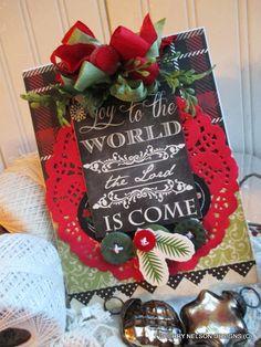 vintage christmas card-JOY to the WORLD the by cherrysjubileecards