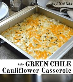 Green Chile Cauliflower Rice Bake is a low carb remake of an old family favorite. Cauliflower rice baked in a creamy, cheesy sauce stu. Gourmet Recipes, Keto Recipes, Dinner Recipes, Cooking Recipes, Healthy Recipes, Easy Recipes, Riced Broccoli Recipes, Frozen Cauliflower Recipes, Keto Cauliflower Casserole