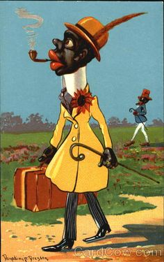 An early Black Americana postcard shows a dandy gentleman walking through a park dressed in his finest. Dresden unused divided Back Series Made in Germany Condition corner and edge wear Vintage Postcards, Vintage Ads, Vintage Prints, Vintage Black, Personalised Frames, Black Artwork, African American History, Best Friend Gifts, Black History