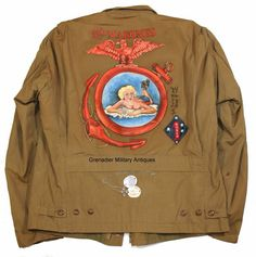 An outstanding example of a custom painted USMC field jacket.