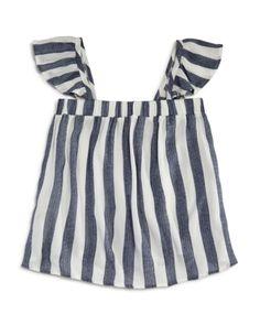 Vintage Havana Girls' Striped Flutter-Sleeve Top - Big Kid - Gray/White Vintage Havana, Flutter Sleeve Top, Kids Online, Girls Shopping, Big Kids, Rompers, How To Wear, Tops, Dresses
