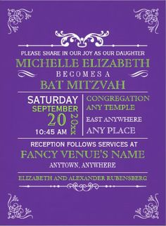 Elegant purple Bat Mitzvah Invitations. #bat_mitzvah_invitations