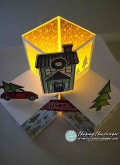 Fancy Fold Cards, Folded Cards, Pop Cubes, Pop Out Cards, Paper Cube, Stampin Up Christmas, Homemade Cards, Christmas Cards, Card Making