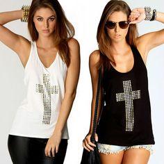 Free shipping sexy  fashion rhinestones cross hot drill racerback low o-neck slim tanks womens vest t-shirts D019 $11.30