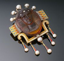 Antqiue Gold, Enamel, Diamond,Pearl and Carved Citrine Egyptian Revival Brooch/Pendant
